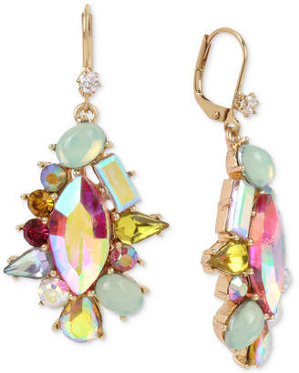 Betsey Johnson Gold-Tone Multi-Stone Cluster Drop Earrings