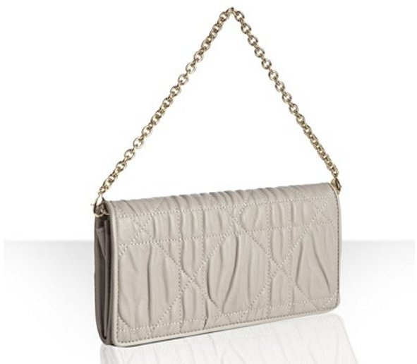 Christian Dior grey ruched cannage leather 'Delices' convertible wallet