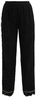 Dolce & Gabbana Mid Rise Floral Lace Pyjama Trousers - Womens - Black