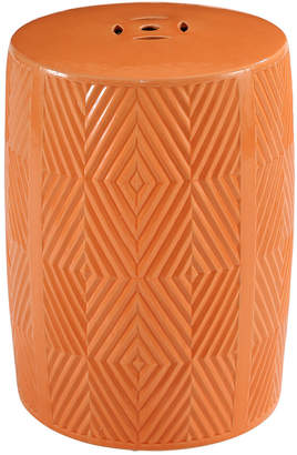 Abbyson Living Marianne Orange Ceramic Garden Stool