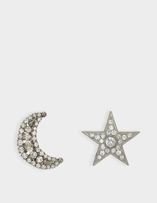 Helene Zubeldia Asymmetrical Crystal Star and Moon Earrings in Ruthenium and Crystals