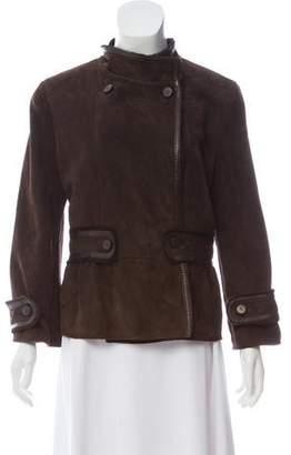 Valentino Suede Fur-Lined Short Coat