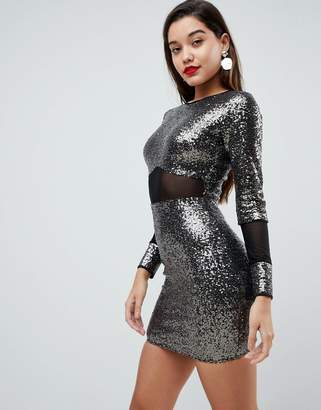 Asos All Over Sequin With Mesh Inserts Mini Dress