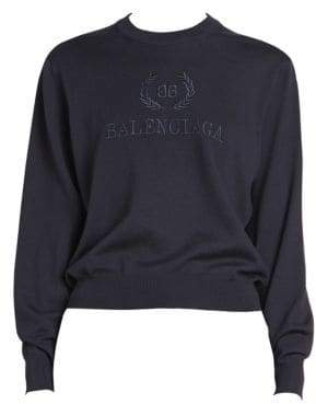 Balenciaga Crown Logo Merino Wool Sweater