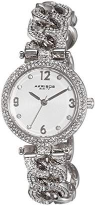 """Akribos XXIV Women's AK756SS """"Brillianaire"""" Crystal-Accented Silver-Tone Watch"""
