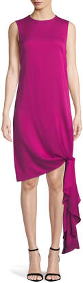 Milly Chiara Stretch-Silk Dress w/ Asymmetric Tied Hem