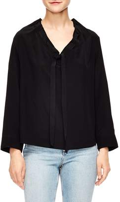 Sandro Leo Tie Neck Silk Top