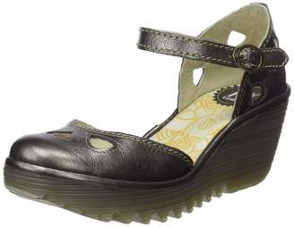 Fly London Womens Yuna Idra Ankle Strap Closed Toe Wedge Leather Shoes - US7/EU38