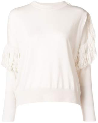 Nude ruffle detail sweater