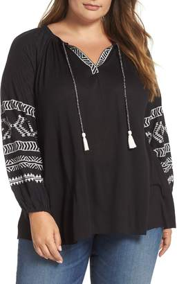 Lucky Brand Embroidered Print Peasant Blouse