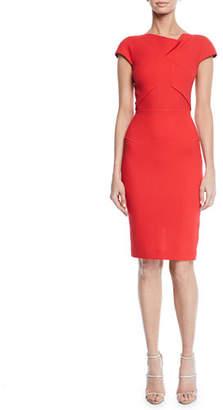 Roland Mouret Ivy Cap-Sleeve Tucked Asymmetric Dress