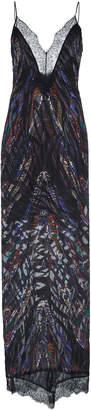 Dundas Feather Devore V-Neck Slip Dress