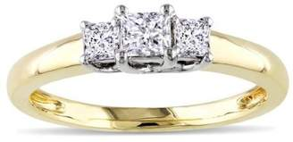 Trilogy JeenJewels .25 Carat Two Tone White and Yellow Gold Princess Ring in 10k Yellow Gold
