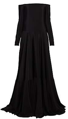 Valentino Women's Long-Sleeve Silk Off-The-Shoulder Gown