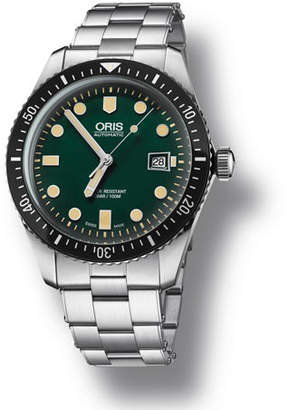 Oris Men's 42mm Diver Watch w/ Bracelet Strap, Green/Steel