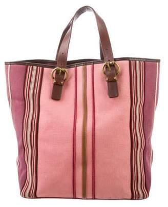 Bottega Veneta Leather-Trimmed Canvas Tote Pink Leather-Trimmed Canvas Tote