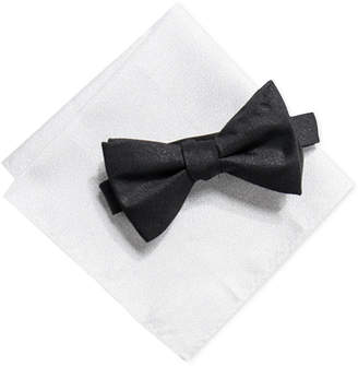 Alfani Men's Solid Pre-Tied Bow Tie & Solid Pocket Square Set