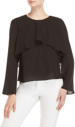 Badgley Mischka Long Sleeve Flounce Silk Blouse