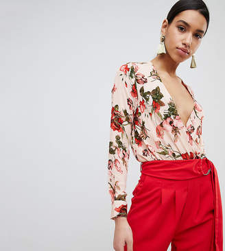 Missguided Floral Plunge Tie Back Body