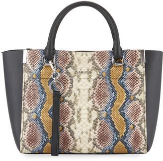 Calvin Klein Raelynn Python-Print Satchel Bag