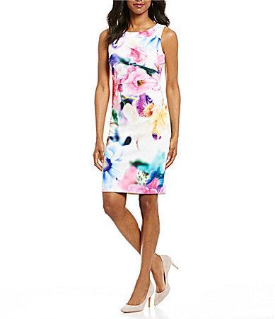 Calvin KleinCalvin Klein Floral Scuba Sheath Dress