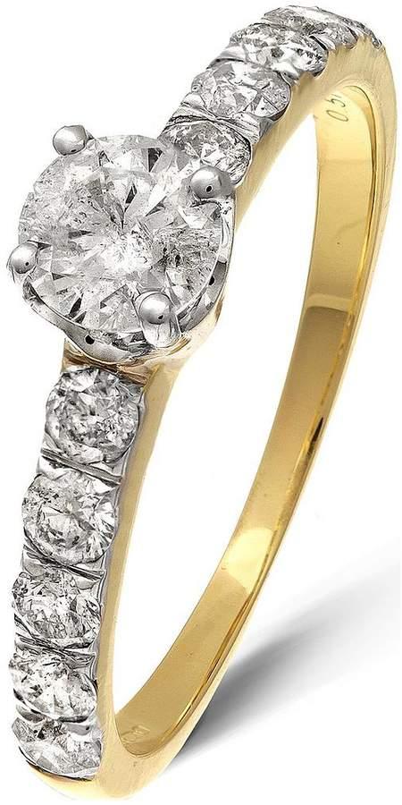 Love DIAMOND 9 Yellow Gold 1 Carat Diamond Solitaire (0.40ct) & Set Shoulders (0.60ct) Ring