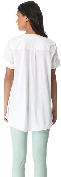 Halston Knit Overlay Cotton Shirt