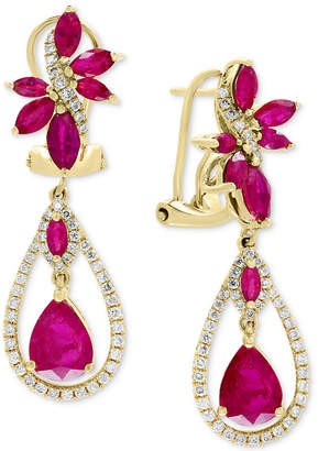 Effy Certified Ruby (4-1/2 ct. t.w.) & Diamond (5/8 ct. t.w.) Drop Earrings in 14k Gold