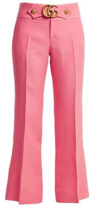 Gucci Gg Stretch Cady Kick Flare Trousers - Womens - Pink