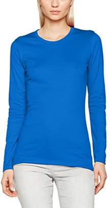 Trigema Women's 502501 Slim Fit Crew Neck Long Sleeve Longsleeve T - Shirt - Blue