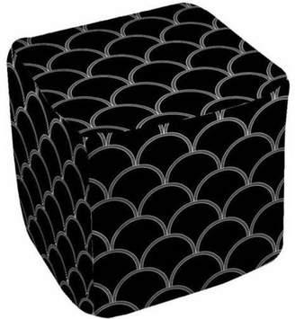 "Thumbprintz Art Deco Circles Black and white Pouf, 18"" x 18"" x 18"""