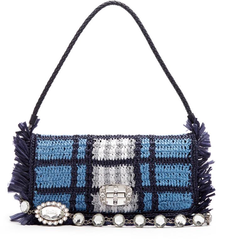 Miu MiuMIU MIU Woven-raffia shoulder bag