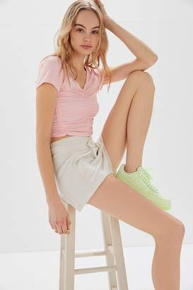 Urban Outfitters Zadie Ruched Short Sleeve Cropped Top