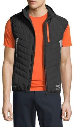 Emporio Armani Men's EA7 Quilted Zip-Front Vest, Black