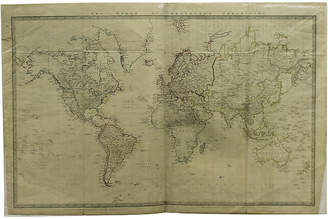 One Kings Lane Vintage Map of the World - 1865