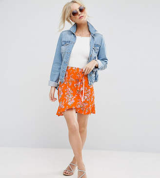 Asos Wrap Mini Skirt With Tie Waist In Ditsy Print