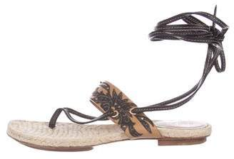 Gucci Leather Wrap-Around Sandals