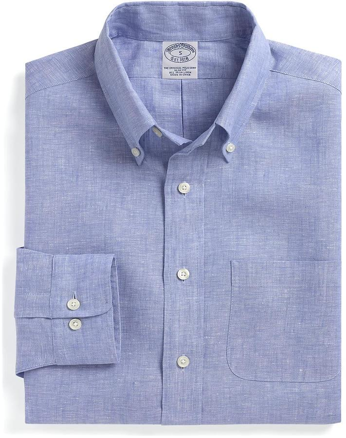 Brooks Brothers Slim Fit Chambray Irish Linen Sport Shirt