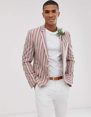 Asos Design DESIGN wedding skinny blazer with wide stripe in dusty pink