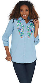Joan Rivers Classics Collection Joan Rivers Denim Shirt with Floral Embroidery
