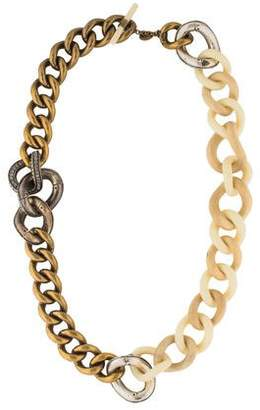 Lanvin Resin, Wood & Crystal Curb Chain Necklace