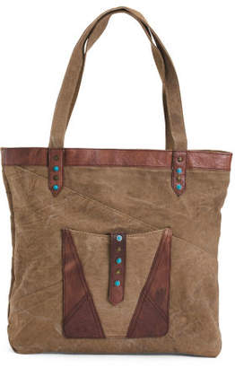 Upcycled Sundance Tote With Leather Details