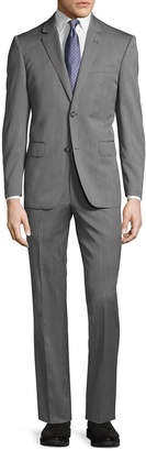 Neiman Marcus Two-Button Modern-Fit Suit, Gray Herringbone