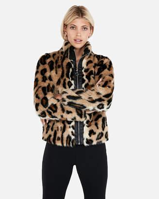 Express Leopard Faux Fur Moto Jacket