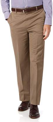 Charles Tyrwhitt Tan Classic Fit Flat Front Non-Iron Cotton Chino Pants Size W34 L30