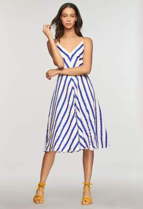 Milly Washed Linen Stripe Midi Length Monroe Dress