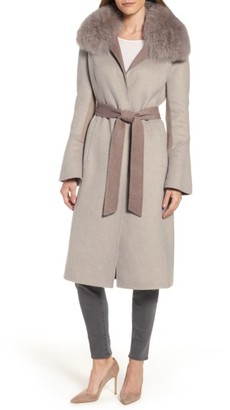 Women's Elie Tahari Annabelle Genuine Fox Fur Trim Double Face Long Wrap Coat $695 thestylecure.com