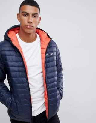 Nicce London reversible puffer jacket in navy orange with hood