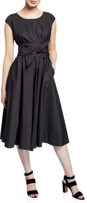 Aspesi Cap-Sleeve Full Skirt Dress w/ Self Belt
