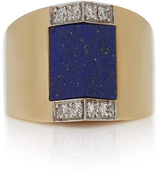 Fratelli Piccini Tetti Di Firenze 18K Gold Lapis And Diamond Ring